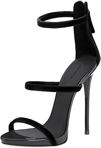 ZHANG8 Femmes Fermeture éclair Velours Open Toe des Sandales Stylet Talon Haut Partie Sexy Chaussures Noir, noir