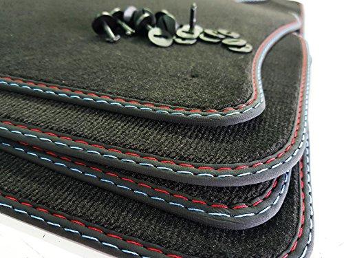 styling-4youcar Doppelnaht Fußmatten für 3er E46 Cabrio Bj.2000-2007 höchste Qualität Velours rot-blau Auto-Matten