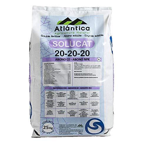 ATLANTICA AGRICOLA Abono Cristalino Soluble NPK SOLUCAT 20-20-20 Especial Frutales, Hortícolas, Cultivos...