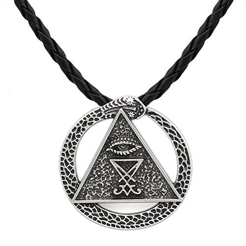 Kirche des Satan Charm Heidnischer Wicca Talisman All Seing Eye Amulett Siegel von Luzifer Schlange Anhänger Halsketten