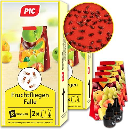 PIC - Fruchtfliegen-Falle, Obstfliegenfalle und Essigfliegenfalle - 2 Lockstoffbehälter mit 4 Leimfallen für extra Lange Wirkung - Mittel um Fruchtfliegen zu bekämpfen - Geeignet für die Küche