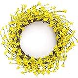 LASPERAL Gelber Forsythie-Kranz, 38,1 cm, Blumenkranz für Haustür, Frühlingskranz, Sommerkranz für Zuhause, Hochzeitsdekoration