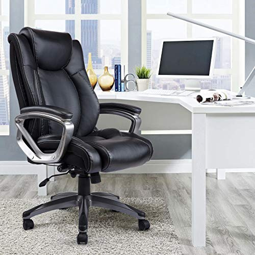 VANBOW Leather Memory Foam Office Chair - Adjustable Lumbar Support Knob and Tilt Angle High Back Executive Computer Desk Chair, Thick Padding for Comfort...