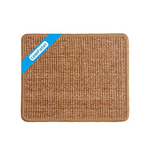 LSAIFATER - Alfombrilla rascadora para gatos de sisal natural, protege alfombras y sofás (38x30cm, Marrón)