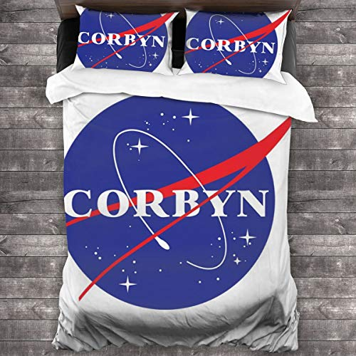 KUKHKU Jeremy Corbyn NASA Logo 3 Pieces Bedding Set Duvet Cover 86″x70″,Decorative 3 Piece Bedding Set with 2 Pillow Shams