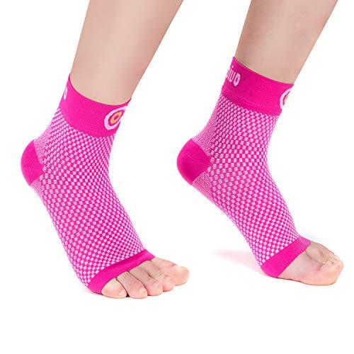 CAMBIVO 2 Paar Sprunggelenkbandage, Knöchelbandage, Fußbandage für Herren und Damen, Plantar Fasciitis Socken gegen Krampfadern, Kompressionssocken für Sport, Fussball, Fitness (Rosa, M)