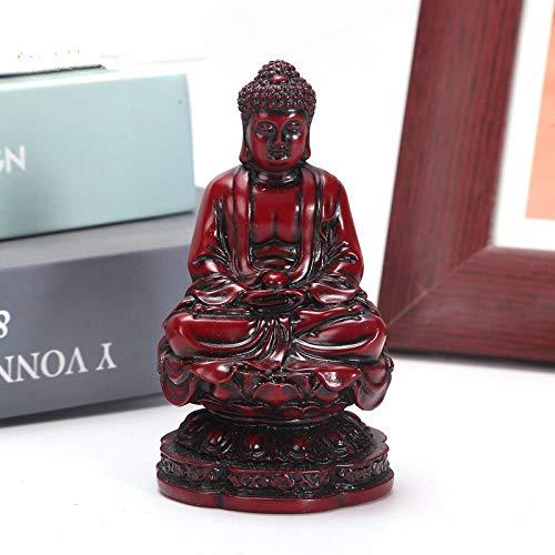 Escultura Estatua,Estatua De Buda Shakyamuni Rojo Moderno Modelo De Pequeña Talla De Resina Figuras Escultura Novedad para Ornamento Artesanía Artes Hogar Decoración Decoración Salón Office Deskt