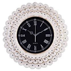 Fancy Elegant Ethnic Luxury Wall Clock Home Decor Silent 16 Inch Battery Quartz White Peacock Feathers Diamond Classic Fashion Creative Resin Carving Crafts Decorative for Living Room House Home ZJART
