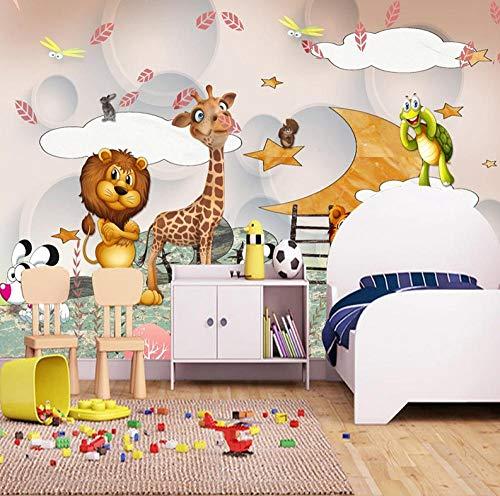 HUATULAI Wandschilderij 3D achtergrond wandschilderijen voor kinderkamer cartoon dier jongens en meisjes slaapkamer kinderkamer decoratie fotobehang 400 x 280 cm/b x h