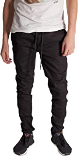 KDNK Men's Tapered Skinny Fit Stretch Colored Denim Elastic Waist Ankle Zip Jeans