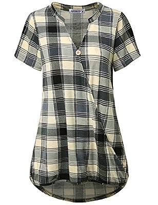 MOQIVGI Women Short Sleeve Notch V Neck Surplice Wrap Tunic Tops Plaid Blouse Shirt