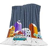 Yaxinduobao Ultra Soft Flannel Fleece Bed Manta Winter Snow Town Christmas Scene Throw Manta All Season Warm Fuzzy Light Weight Cozy Plush Mantas for Living Room/Bedroom