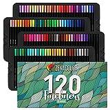 Zenacolor 120 Feutres à Pointe Fine - Boite Métal - Stylo FineLiner 0.4mm - Idéal pour Calligraphie, Dessin de Précision, Écriture, Coloriage pour Adulte, Mandala, BD, Manga