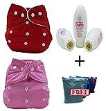 Waschbare Tücher Pocket 5 Stück + 5 Einsätze + Babyschale Curaben + gratis WET BAG