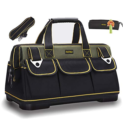 FASTECH 20-inch Wide Mouth Tool Bag with Water Proof Molded Base,Wide Mouth Tool Tote Bag,Waterproof Tool Organizer Bag for Men with Adjustable Shoulder Strap (20 inch)