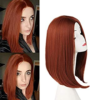 Short Dark Orange/Ginger Reddish Straight Hair Wigs for Women Shoulder Length Full Head Christmas Cosplay Wig Long Bob Middle Part Synthetic Wig Natural Looking with Wig Cap(350#-Copper Red)