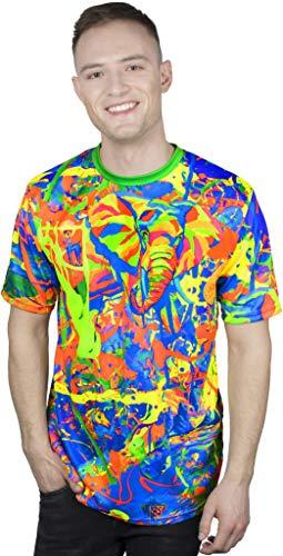Camiseta masculina de manga curta com estampa de luz neon neon aofmoka, Elegant Elephant, XX-Large