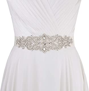 Womens Wedding Dress Sash Belt with Ribbon Rhinestone Multi Color Bridal Belt