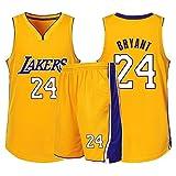 Uniformes De Baloncesto for Hombres Kobe Bryant # 24 Jersey De Los Lakers De Los Ángeles Camiseta Sin Mangas Transpirable Fitness Sudadera Jersey Fan (Color : Amarillo, Size : XS/32)