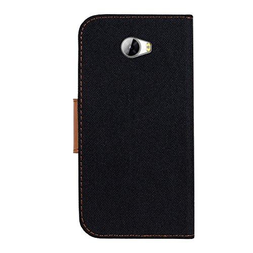 Verco Y5 II Hülle, Schutzhülle für Huawei Y6 2 Compact Tasche Denim Textil Book Case Flip Case - Klapphülle Schwarz - 3