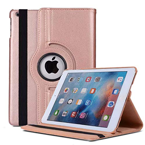 iPad Mini 1 2 3 Case, Premium Leather Folio Book Cover Design, Multi-Angle Viewing Stand, Smart Cover with Auto Sleep/Wake + Screen Protector for Apple iPad Mini/Mini 2 / Mini 3 (Rose Gold 360 Case)