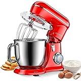 KICHOT Batidora Amasadora, 4,5L 1300W Robot de Cocina de 10 Velocidades, Potente Batidora de Cocina con Gancho Amasador, Varillas para Batir, Batidor Plano, Tapa Antisalpicaduras (Rojo)