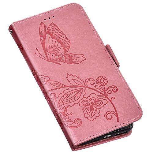 QPOLLY Kompatibel mit Samsung Galaxy A10S Hülle Leder Tasche Brieftasche Flip Wallet Case Schutzhülle Handyhülle Schmetterling Blumen Muster Klapphülle mit Standfunktion für Galaxy A10S,Pink