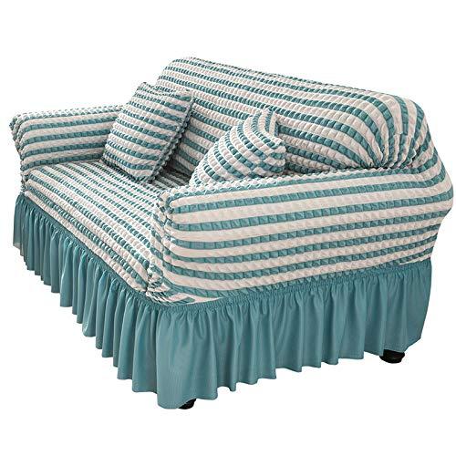 NOBCE Funda de sofá antisuciedad Funda de sofá de Sala de Estar en Forma de L Funda de sofá elástica Azul 235-300CM