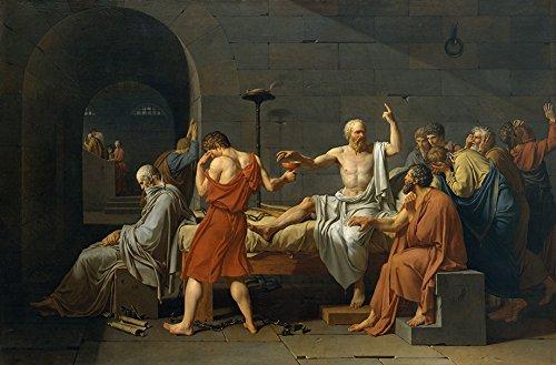 A Morte de Sócrates Condenado a Morrer Bebendo Veneno Filósofo Grécia Antiga Pintura de Jacques-Louis David na Tela em Vários Tamanhos (80 cm X 53 cm tamanho da imagem)