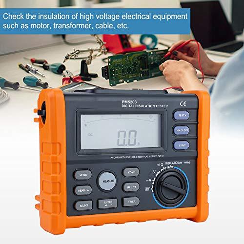 MS5203 Digitale Misuratore di Resistenza di Isolamento da 1000V, Tester Resistenza Isolamento con Display LCD Retroilluminato, Tester di Tensione AC/DC