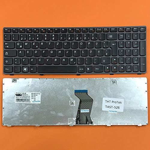 kompatibel für Lenovo Ideapad G585, G585A Tastatur - Farbe: Schwarz - mit Grau Rahmen Deutsches Tastaturlayout