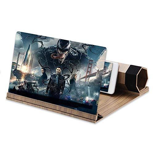 12-Zoll-Bildschirm-Vergrößerungsglas, Faltbarer Bildschirm aus massivem Holzmaserung, geeignet für das Ansehen von Filmvideos auf Allen Smartphones (Walnuss)…