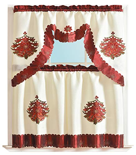 3-Piece Decorative Christmas Holiday Design Embroidered Bell Cutout Kitchen Curtain Set Red Xmas Style