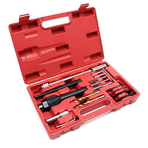 Glühkerzen Demontage Ausbohr Werkzeug Set 16-teilig Glühkerzenreparatur Ausbohrwerkzeug