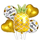 5Pcs Pineapple Party Balloons Kit Summer Birthday Party Decorations for Fruit Pineapple Tropical Luau Hawaiian Beach Party Decorations Supplies