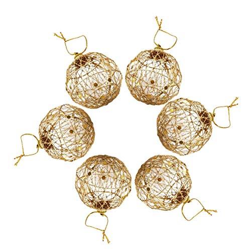 Naisidier 6pcs Ornamente Glitter Kugeln Weihnachten Baumschmuck Hanging Ornament Metallic Gold Hohle hängende Kugel Ferienhaus Dekorationen (5 cm / 2,0 Zoll, Gold)