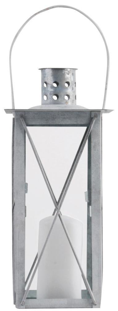 Vilys House Farol Porta Velas met/álico de Color Blanco con Laterales de Cristal accesible por la Base