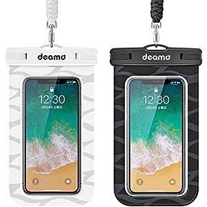 防水ケース「2枚入」IPX8認定 スマホ防水ケース 顔認証対応 iPhone 12/11 pro Max/Xs Max/8 Plus/7plus、Sharp Aquos,Sony Xperia,Samsung Galaxy等7.0インチ以下スマホ対応 お風呂/海/プール/釣り/ダイビング/水遊び等で大活躍 ネックストラップ付属 防水携帯ケース スマホ用 (黒+白)