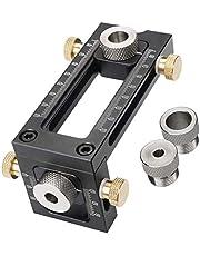 Houtbewerking Doweling Jig, 2-in-1 verstelbare Pocket Hole Jig Puncher Locator plug Drill Guide Kit, 4-Hole 6/8/10/12mm plug Hole Guide Doweling Kit voor Bed Cabinet Schroeven Punch Locator