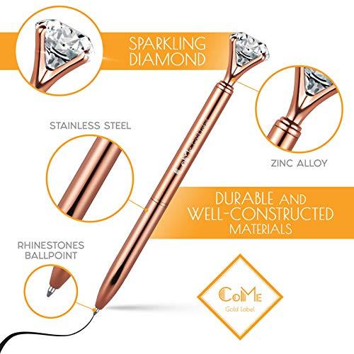 4 PCS Color Diamond Pens Rose Gold - 4 Velvet Bags, 8 Ink Refills Black & Blue, Gift Pen Set for Writing - Fancy Pens for Girls, Crystal Jewel Cute Pens for Women, Girly Ballpoint Pen with Diamond Top Photo #5