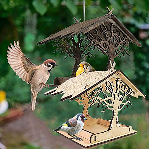 Wooden Bird House Feeder,Courtyard Attractive Wooden Birdhouse,Creative Tree Shaped Birdhouse,Handmade Wooden Outdoor Ranch Patio Yard Tree Hanging Decoration,Home,Yard & Garden (B+C)