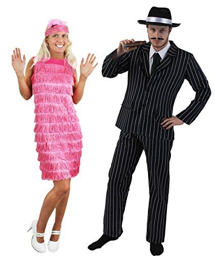 Disfraz de pareja de gánster y cabaretera para adultos