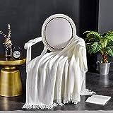 XUMINGLSJ Mantas para Sofás de Franela- Manta para Cama Reversible de 100% Microfibre Extra Suave -Blanquecino_El 130 * 160cm
