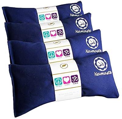 Happy wraps Namaste Namaste Yoga Eye Pillows - Hot Cold Aromatherapy, Stress, Meditation, Thermal Spa, Relaxing Gifts - 4 Sets