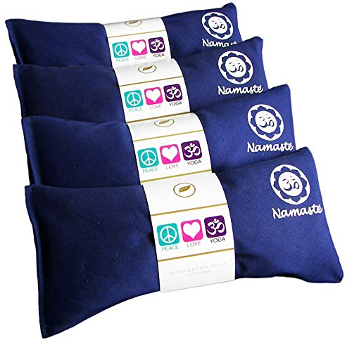 Happy Wraps Namaste Yoga Eye Pillows - Lavender Eye Pillows for Yoga - Hot Cold Aromatherapy Eye Pillow for Yoga and Relaxation Gifts - Set of 4 - Navy Cotton