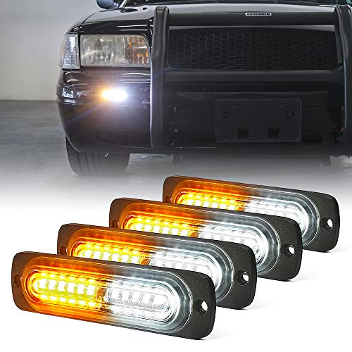 Xprite Amber/White 12 LED Emergency Strobe Lights Kit Surface Flush Mount Side Marker Grill Grille Hazard Warning Flashing Light Head for Off-Road Vehicles ATV Trucks Cars - 4Pcs