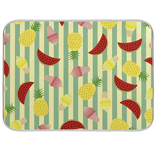 Estera de microfibra para secar platos, extra grande, súper absorbente, diseño de doble cara para cocina, sandía de piña de 18 x 24 pulgadas