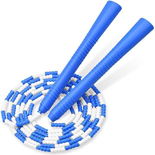 縄跳び 小学生 ビーズロープ なわとび 子供 初心者向け 幼児 ジュニア 学校用 長さ調整可能 (ブルー)