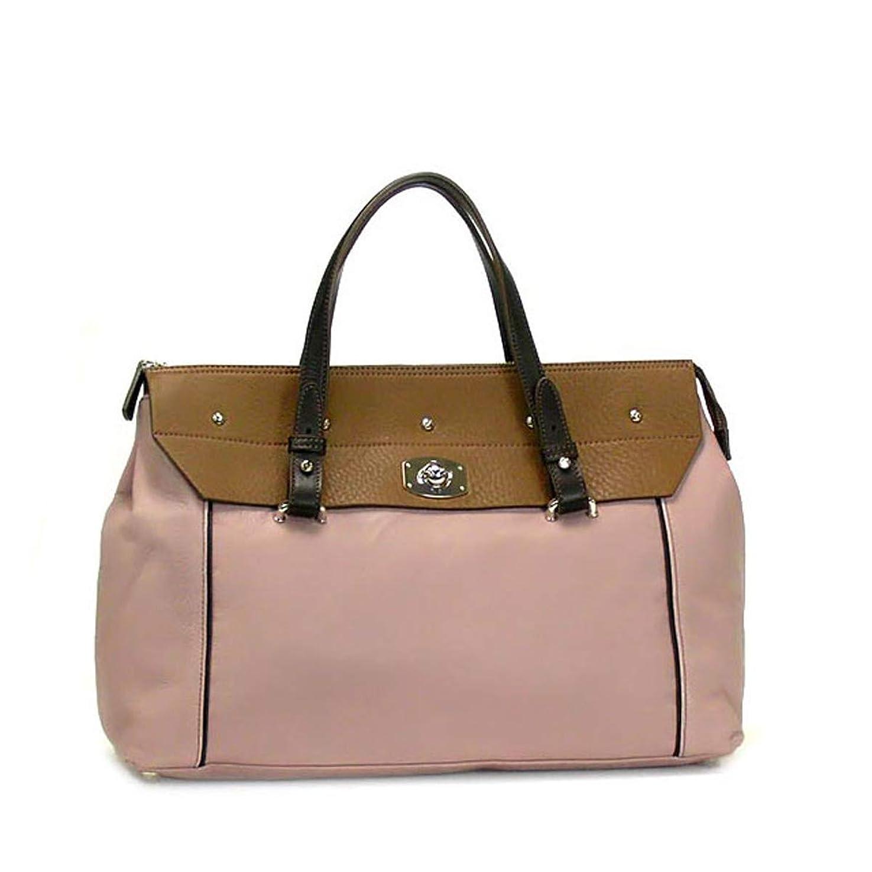適用する意欲バラ色[フルラ] バッグ シルバープレート付きハンドバッグ ブラウン×ピンク [並行輸入品]