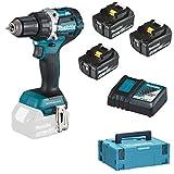 Makita DDF484JX1 Taladro Atornillador 18 V, 2 5,0, 1 batería de 3,0 Ah y Cargador en Makpac